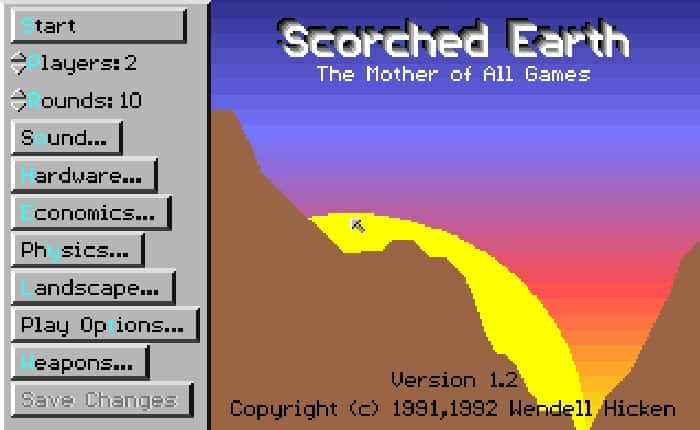Scorched Earth online playable MS-DOS game